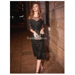 Sexy Fish Tail Medium-length Black Semi Formal Dress Sequined Sparkle & Shine Fringe Embellishment Party Dress With Sequines New
