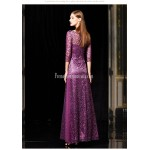 Amazing Floor-length Purple Tull Prom Dress Half Sleeves Invisible Zipper Sequined Sparkle & Shine Party Sress New