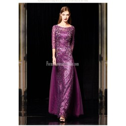 Amazing Floor-length Purple Tull Prom Dress Half Sleeves Invisible Zipper Sequined Sparkle & Shine Party Sress