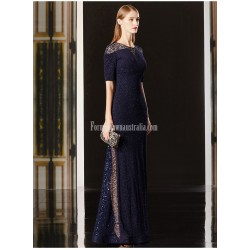 Noble Temperament Sheath/Column Navy Blue Formal Dress Sequined Sparkle & Shine Short Sleeves Invisible Zipper Prom Dress With Sequines