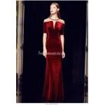 Beautiful Sheath/Column Floor-length Red Velvet Prom Dress Deep V-neck Short Sleeves Zipper Back Engagement Dress New