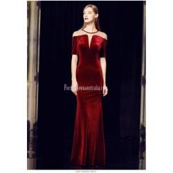 Beautiful Sheath Column Floor Length Red Velvet Prom Dress Deep V Neck Short Sleeves Zipper Back Engagement Dress