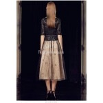 A-line Medium-length Black Tulle Lace Semi Formal Dress Sequined Sparkle & Shine Half Sleeves Party Dress New