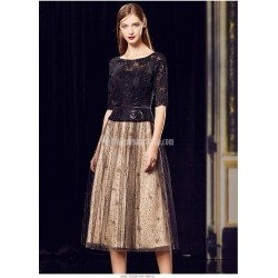 A Line Medium Length Black Tulle Lace Semi Formal Dress Sequined Sparkle &Amp; Shine Half Sleeves Party Dress