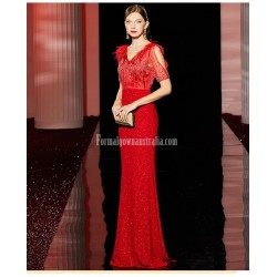 Fashionable Sheath/Column V-neck Red Short Sleeves Evening Dress With Sequines/Nail bead/Feather