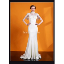 Elegant Mermaid Trumpat Trailing White Satin Evening Dress Fashion Collar Keyhole Back Prom Dress With Beading