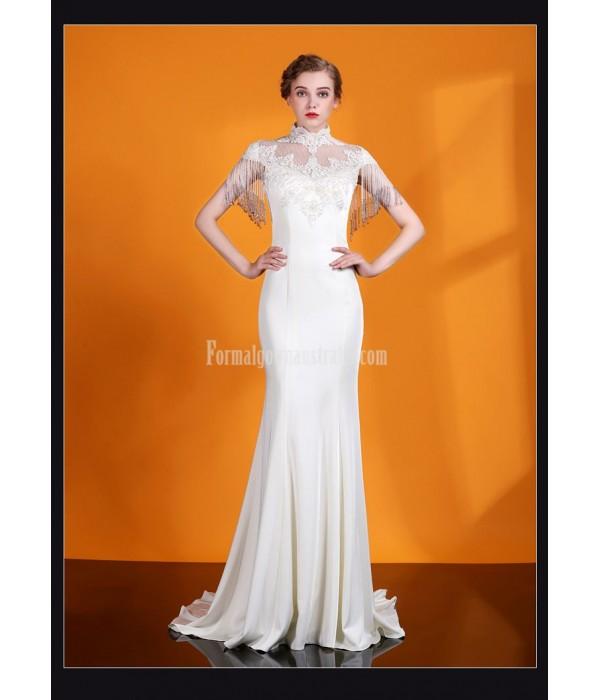 Elegant Mermaid/Trumpat Trailing White Satin Evening Dress Fashion Collar Keyhole Back Prom Dress With Beading New