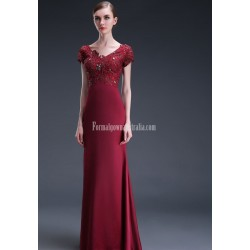 Glamorous Sheath/Column Floor-length Burgundy Prom Dress V-neck Exquisite Embroidery Zipper Back Party Dress With Sequines