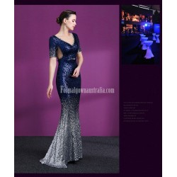 Glamorous Mermaid/Trumpet Blue Prom Dress Illusion-neck Sequined Sparkle & Shine Short Sleeves Party Dress With Sequines/Sashes