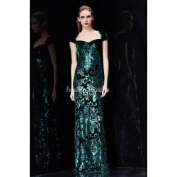 High End Atmosphere Sheath Column Floor Length Green Velvet Prom Dress