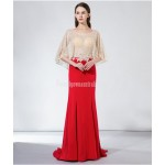 Noble and Elegant Fish Tail Fashionable Bat Sleeve Red Satin Evening Dress With Sequines New