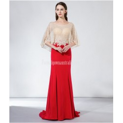 Noble and Elegant Fish Tail Fashionable Bat Sleeve Red Satin Evening Dress With Sequines