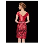 Sexy Sheath/Column Knee-length Satin Prom Dress Deep V-neck Invisible Zipper Exquisite Embroidery Party Dress With Shawl New