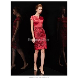 Sexy Sheath Column Knee Length Satin Prom Dress Deep V Neck Invisible Zipper Exquisite Embroidery Party Dress With Shawl