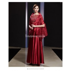 Fashion Floor-length Burgundy Satin Zipper Back Evening Dress With Shawl/Sequines