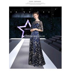 High-end A-line Heavy Industry Starry Sky Fashion Sleeves Evening Dress