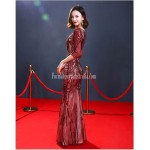 High end Atmosphere Sheath/Column Deep V-neck Floor-length Red Evening Dress With Sequines New