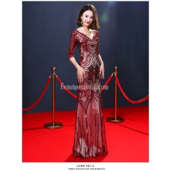 High end Atmosphere Sheath/Column Deep V-neck Floor-length Red Evening Dress With Sequines