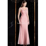 Glamorous Mermaid/Trumpet Floor-length Evening Dress Illusion-neck Stereoscopic Embroidery Zipper Back Prom Dress With Sequines New