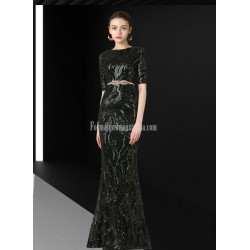 Glamorous Mermaid/Trumpet Sequined Sparkle & Shine Middle Sleeve Black Prom Dress