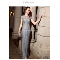 Brilliant Mermaid Trumpet Floor Length Sequined Sparkle &Amp; Shine Grey Evening Dress With Sequines