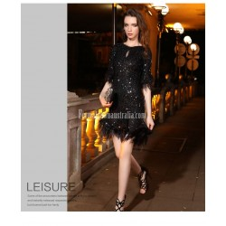 Sexy Short Sheath Column Little Black Dress Sequined Sparkle &Amp; Shine Semi Formal Dress