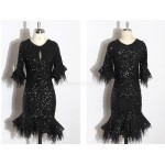 Sexy Short Sheath/Column Little Black Dress Sequined Sparkle & Shine Semi Formal Dress New