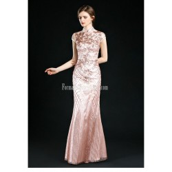 Sexy And Elegant Sheath Column Floor Length Fashion Stand Collar Evening Dress
