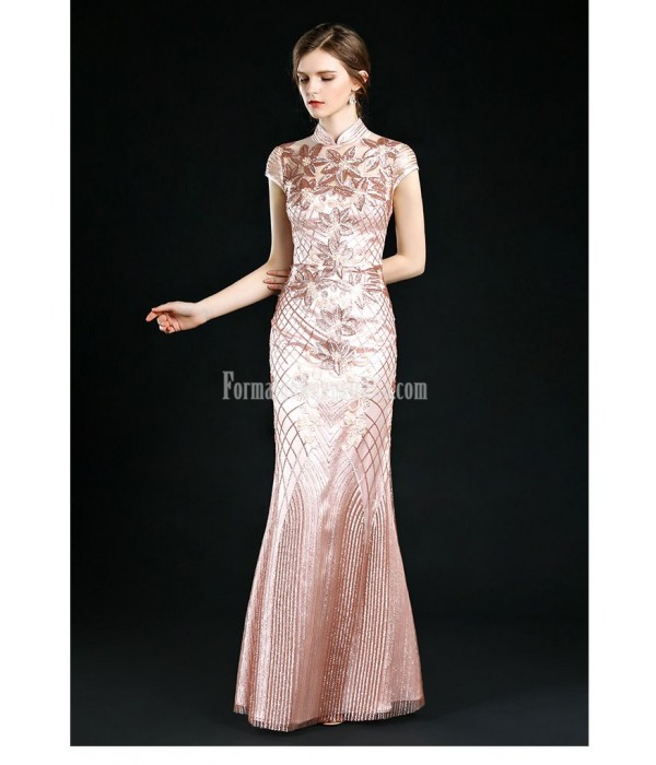 Sexy and Elegant Sheath/Column Floor-length Fashion Stand Collar Evening Dress New