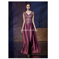 Noble and Elegant Floor-length Hand Embroidered Sequins and Lace Patterns Satin Evening Dress