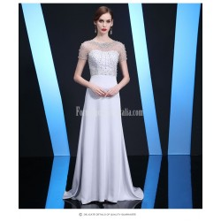 Noble and Elegant Trailing Silver Gray Satin Evening Dress Handmade beading Zipper Back Prom Dress