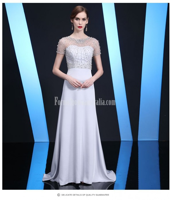Noble and Elegant Trailing Silver Gray Satin Evening Dress Handmade beading Zipper Back Prom Dress New