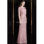 Fashion Sheath/Column Pink Prom Dress Sequined Sparkle & Shine Zipper Back Tassel Sleeve Party Dress New