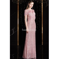 Fashion Sheath/Column Pink Prom Dress Sequined Sparkle & Shine Zipper Back Tassel Sleeve Party Dress