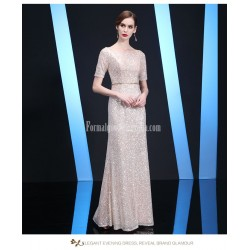 Brilliant Floor-length Sheath/Column Champagne Prom Dress Sequined Sparkle & Shine Invisible Zipper Middle Sleeve Party Dress With Metal Belt