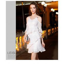Sexy Knee-length White Semi Formal Dress Fashion Splicing Deep V-neck Sequined Sparkle & Shine Invisible Zipper Party Dress