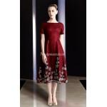 A-line Medium-length Short Sleeves Zipper Back Burgundy Evening Dress New