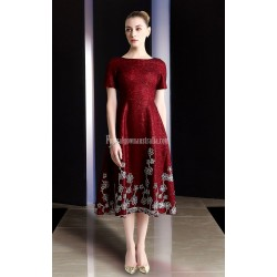 A-line Medium-length Short Sleeves Zipper Back Burgundy Evening Dress