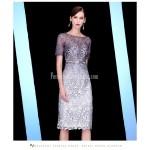 Sheath/Column Medium-length Zipper Back Short Sleeves Lace Evening Dress New