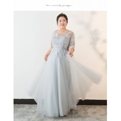 Elegant Floor Length Smoky Grey Plus Size Formal Dress Lace Crew Neck Lace Up Half Sleeves Evening Dress
