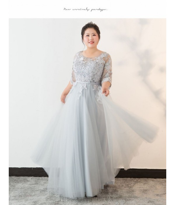 Elegant Floor-Length Smoky Grey Plus Size Formal Dress Lace Crew-neck Lace-up Half Sleeves Evening Dress New