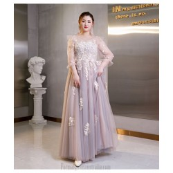 Elegant Floor Length Bean Paste With Grey Blue Plus Size Formal Dress Illusion Crew Neck Hollow Lace Up Back Prom Dress With Appliques
