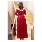 A-line Floor-length Red Spandex Plus Size Formal Dress Illusion neck Half Sleeves Hollow Lace-up Prom Dress With Sequines New