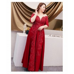 A Line Floor Length Red Spandex Plus Size Formal Dress Illusion Neck Half Sleeves Hollow Lace Up Prom Dress With Sequines