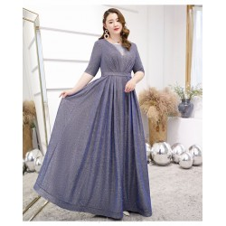 Classic Floor Length Blue Gray Discoloration Plus Size Formal Dress Half Sleeves Lace Up V Neck Evening Dress