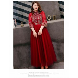 Fashion A Line Red Lace Plus Size Formal Dresses 3 4 Sleeves Hollow Lace Up Back Stand Collar Evening Dress
