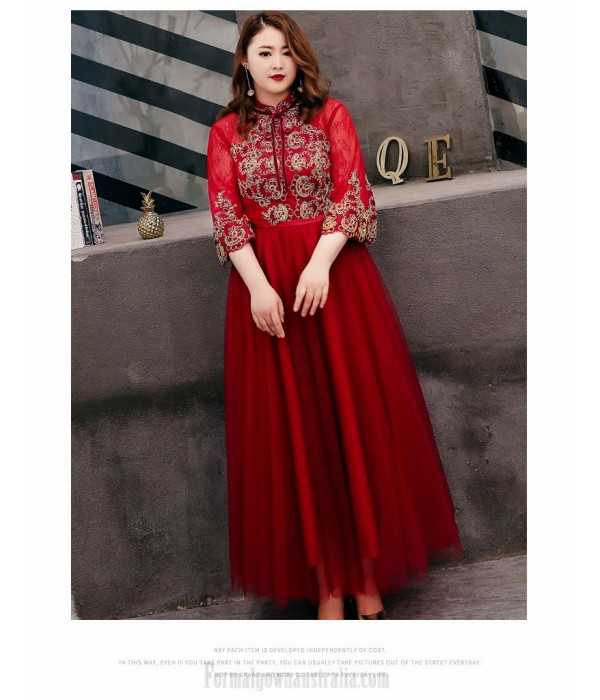 Fashion A-line Red Lace Plus Size Formal Dresses 3/4 Sleeves Hollow Lace-up Back Stand Collar Evening Dress New