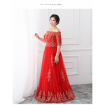 A-line Floor-length Red Lace Tulle Plus Size Formal Dress Off The Shoulder Half Sleeves Lace-up Evening Dress New