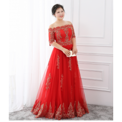 A Line Floor Length Red Lace Tulle Plus Size Formal Dress Off The Shoulder Half Sleeves Lace Up Evening Dress