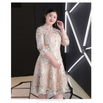 A-line Knee-length Exquisite Embroidery Champagne Plus Size Formal Dress Fashion Stand Collar Zipper Back 3/4 Sleeves Evening Dress New
